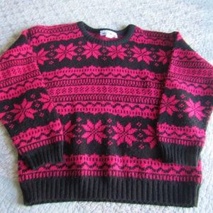 Vintage! Hot Pink Snowflake Sweater